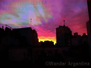 buenos aires sunrise with pesos