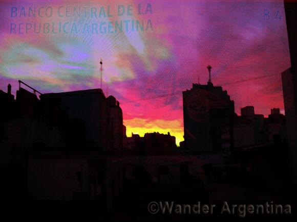 buenos aires sunrise with pesos
