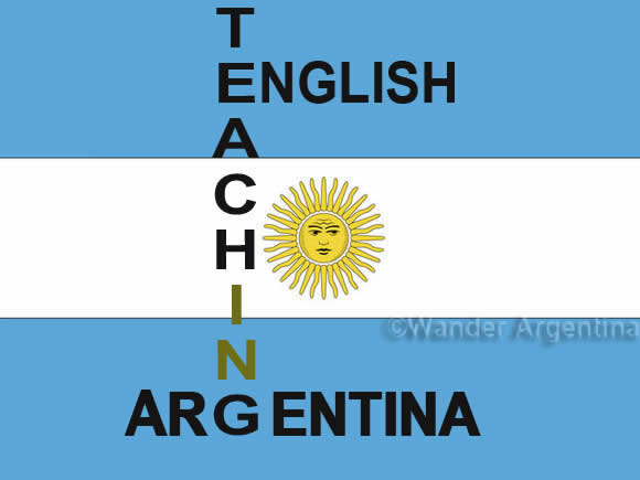 Argentine flag that says teaching English in Argentina