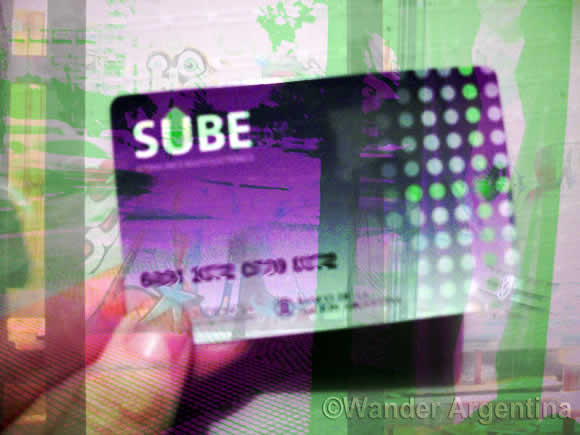 The green and purple Buenos Aires SUBE smart card for subsidised fares on the subway, buses and trains