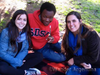 students drinking mate in a Buenos Aires park