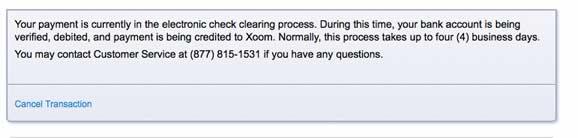 Xoom screenshot indicating the transaction will take up to four days