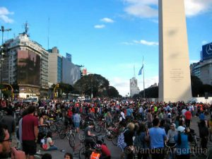 Bikers gather at the Obelico in Buenos Aires for Critical Mass