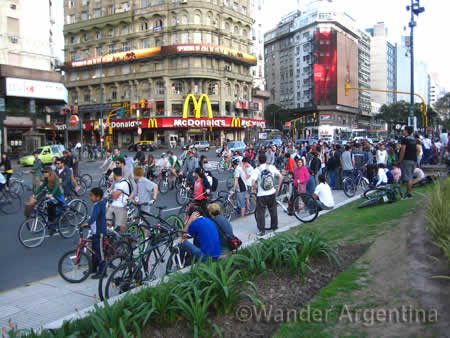 Critical Mass Riders in Buenos Aires