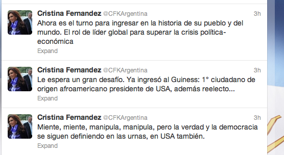 Tweet from Cristina Kirchner, Argentina's President after Obama's Win