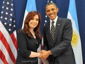 President Cristina Fernandez de Kirchner together with President Barack Obama at the 2011 G-20 Summit