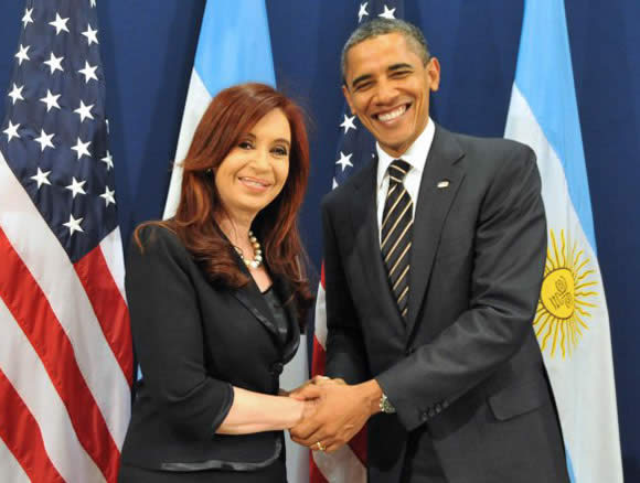 President Cristina Fernandez de Kirchner together with President Barack Obama at the 2011 G-20 Summit