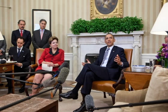 Barack Obama and Brazilian President, Dilma Vana Rousseff in the White House