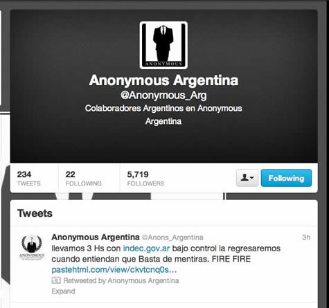 Anonymous Argentina twitter message after taking down INDEC webpage