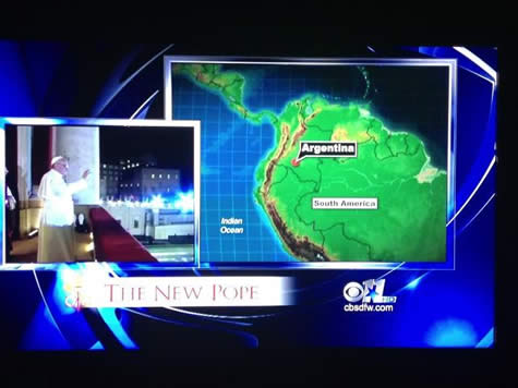 CBS News Screenshot -- Argentina misplaced on South Americna Map