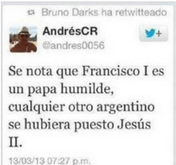 A tweet in SPanish about Pope Francis