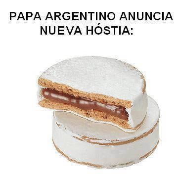 An Argentine internet meme showing an alfajor traditional Argentine cookie as the new sacrament