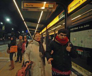 Margarita Goméz and her son, Jesus at the Venezuela stop of Buenos Aires' new Metrobus
