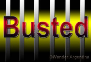 busted with jail bars