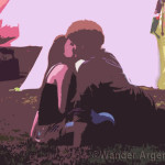 Illustration of a couple kissing in a park