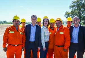 Argentine President Mauricio Macri with contruction workers in Lujan, Buenos Aires province