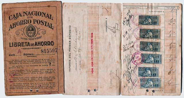 A booklet from Argentina's 'Caja Nacional de Ahorra Postal' (National Postal Savings Fund), a defunct Argentine savings program