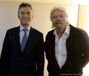 Argentine President Mauricio Macri with Richard Branson, billionaire founder of the Virgin Group