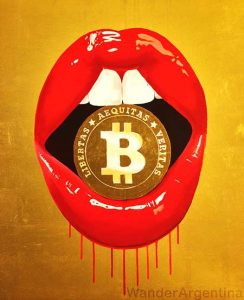 A painting of a pair of lips holding a bitcoin that hangs at Espacio Bitcoin Community Center in Buenos Aires