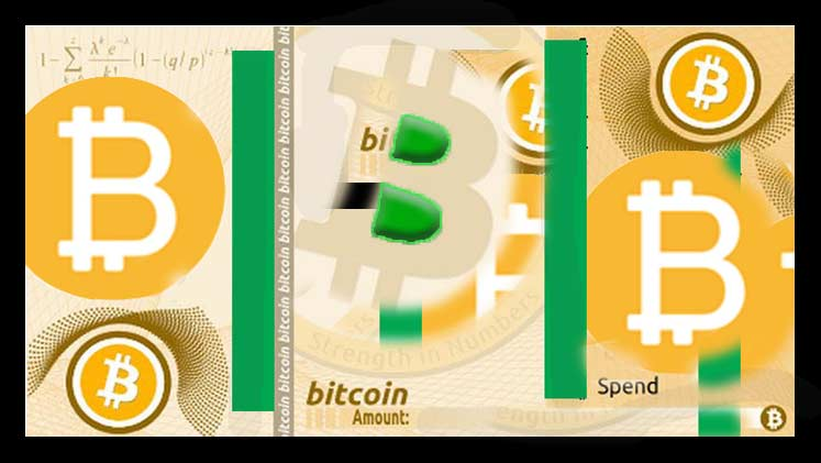 An image that contains the bitcoin logo and is based on a Bitcoin Paper Wallet