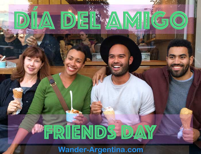 A group of four friends eating ice cream with an overlay of the words 'Dia del Amigo' (Friends Day)