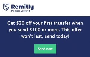 Get $20 off your first transfer when you send $100 or more. This offer won't last, send today!